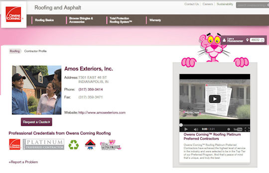 Check out our profile on the Owens Corning site.