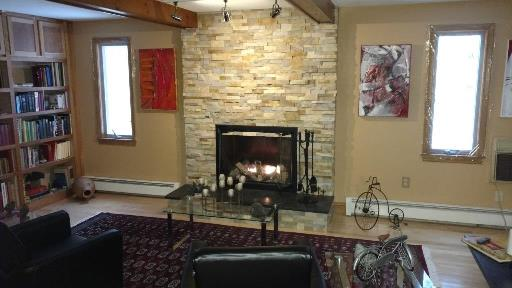 refaced fireplace with stone