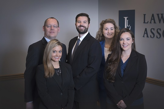 Justin, Pete, Danielle, Marisa, Amanda (not shown), and Kelsey make up the Lawrence & Associates attorney team.