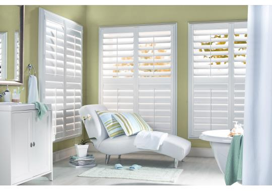 Premium Composite Wood Shutters are the perfect complement to a seaside master bathroom get away