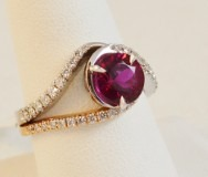 Rhodalite and diamond ring in rose and white gold