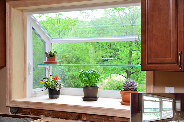 Our garden windows feature thick polished-edge glass shelf