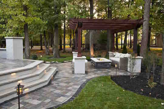 Custom fire pit, pergola, steps with LED inlay lighting