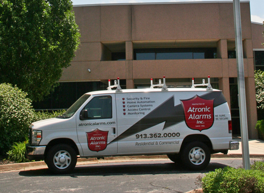 Atronic Alarms has a large fleet of vans for installation and service. This one sits in front of the Atronic Alarms building in Lenexa, Kansas.