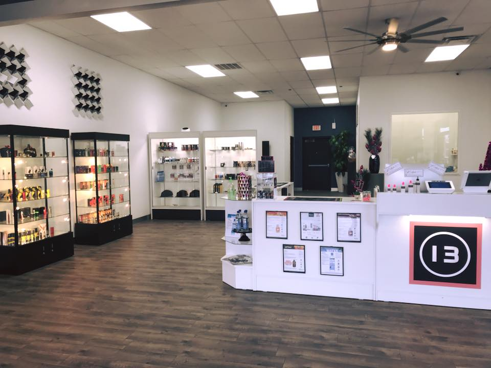 Here is the inside lobby and store front of 13 Vapor. Not only do we display our beautiful Mods, Tanks, and Premiums, but you can watch your house juice being custom made for you in our Juice Lab!