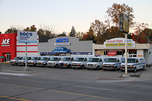 Our store with most of our fleet parked out front.