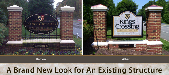 July 2011-Refurbished Kings Crossing sign.