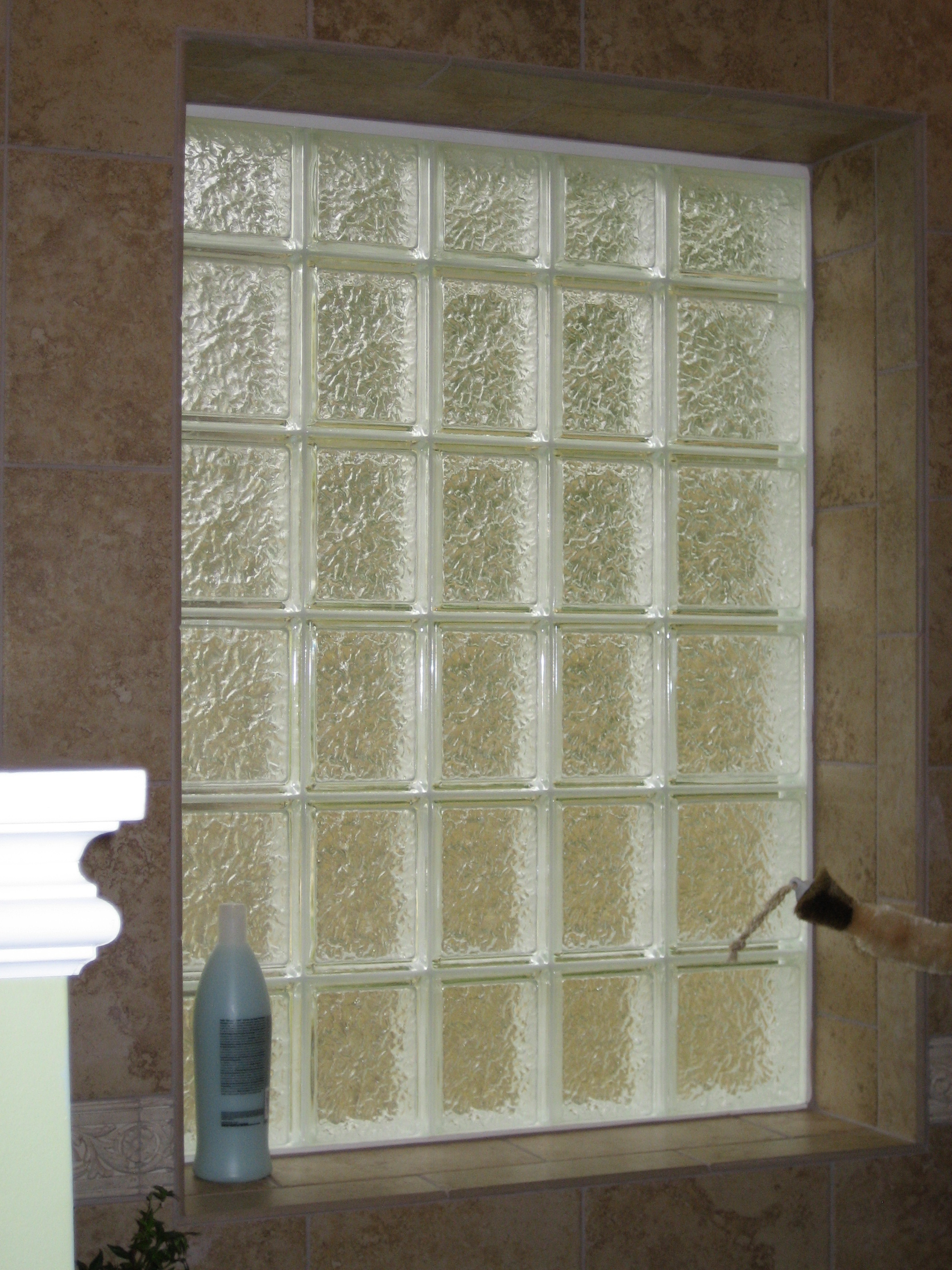 A Iceberg Pattern Glass Block window inside view.  Iceberg Pattern is our most private design.