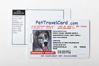 PetTravelCard, front and back
