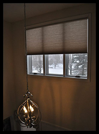 Motorized EcoSmart cellular shades is a great solution for those hard to reach windows.