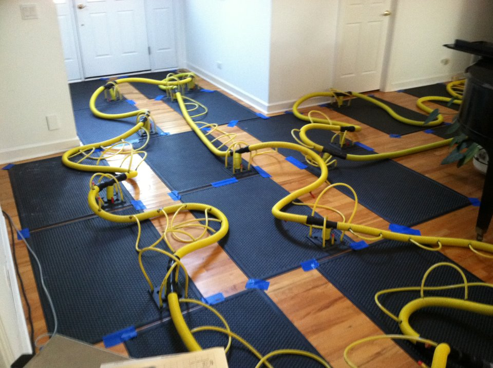 A look at our hardwood floor drying machines (HP60i) and how it looks while we are drying the floor.