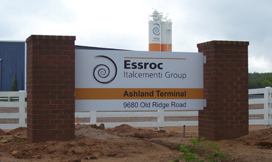A good example of a basic brick column sign