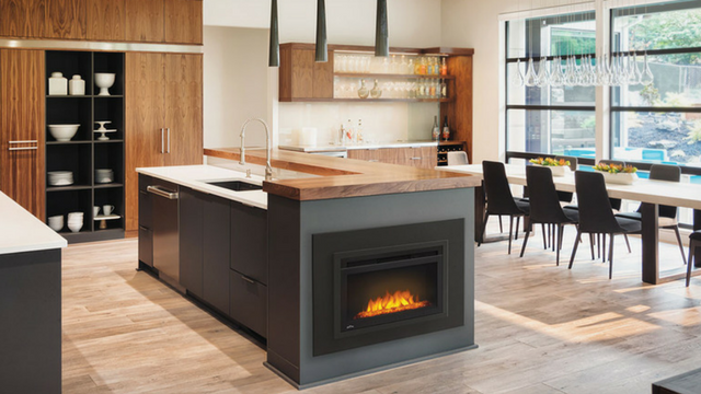 Electric Firebox Built into a Kitchen Island