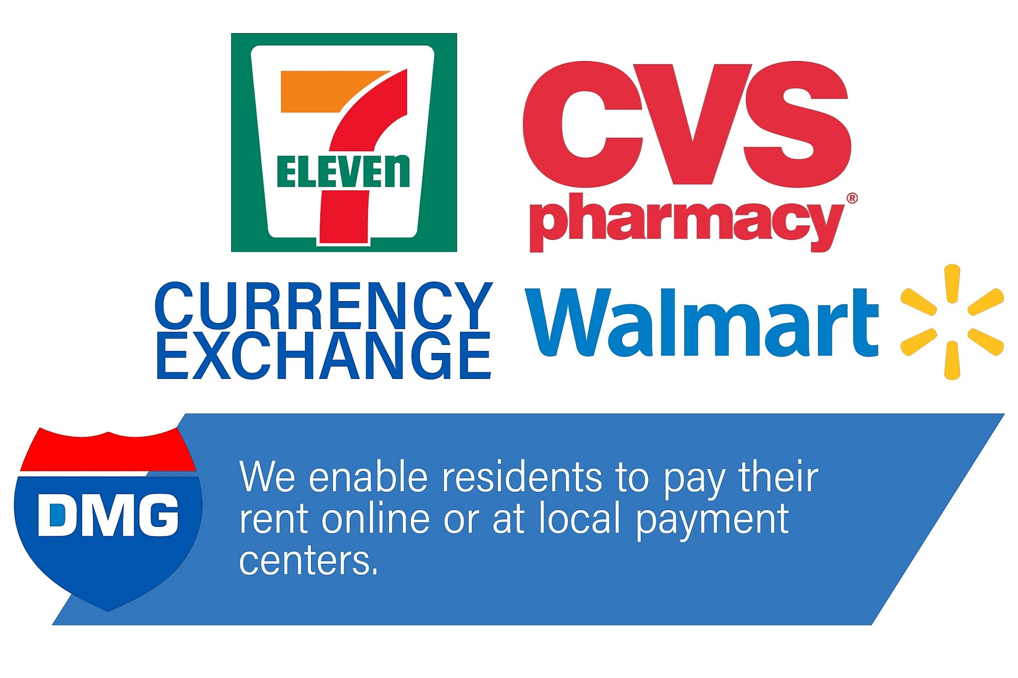 We enable tenant to pay their rent online and a local payment centers.