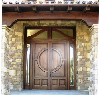 14 Ft tall walnut custom entry door system - featured project by Builders Direct Supply