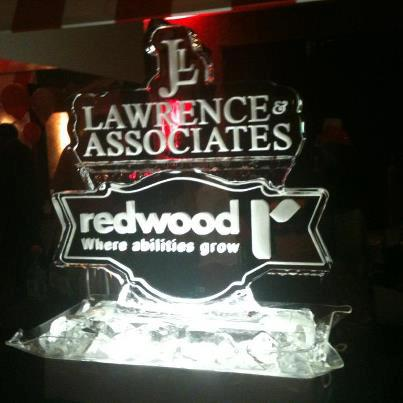 Lawrence & Associates ice sculpture at the Redwood Express charity gala