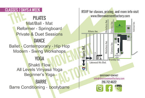 Map and classes offered at The Movement Factory!