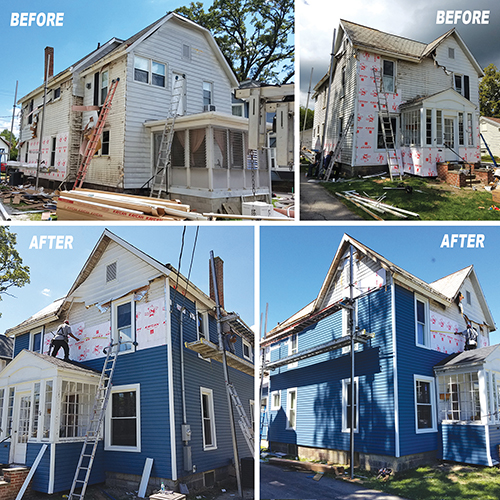 This is a newly completed job that was in the hard hit area of New London. We started by taking of the damaged products around the home and then adding new blue siding and capping all of the windows.