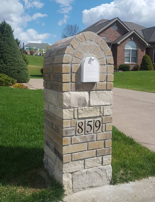 Stone and brick mailboxes