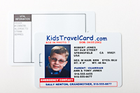 KidsTravelCard, front and back