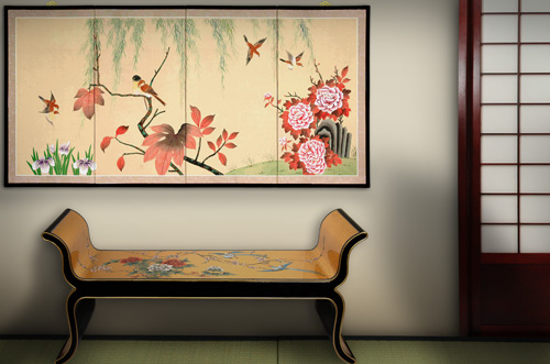 An offering of our products, including a silk screen, lacquer bench and tatami mats.