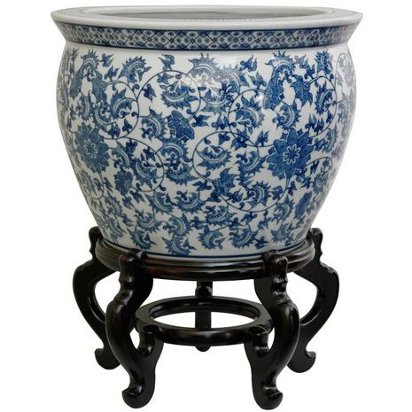 Blue & White Floral Fishbowl with Rosewood Stand