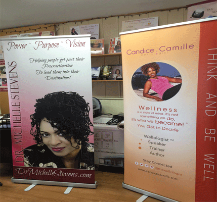 Banners make a great conversation piece at your exhibit or workshop. - Get noticed with banners