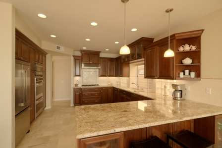 Custom design kitchen with Cherry cabinets and granite counters.