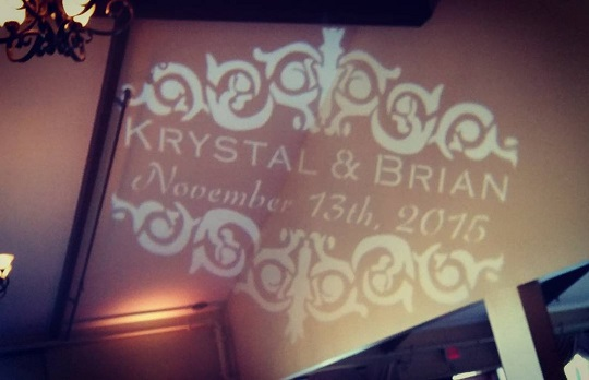 A special custom monogram projected from an LED Gobo Projector that we produced for a lovely Wedding this year!