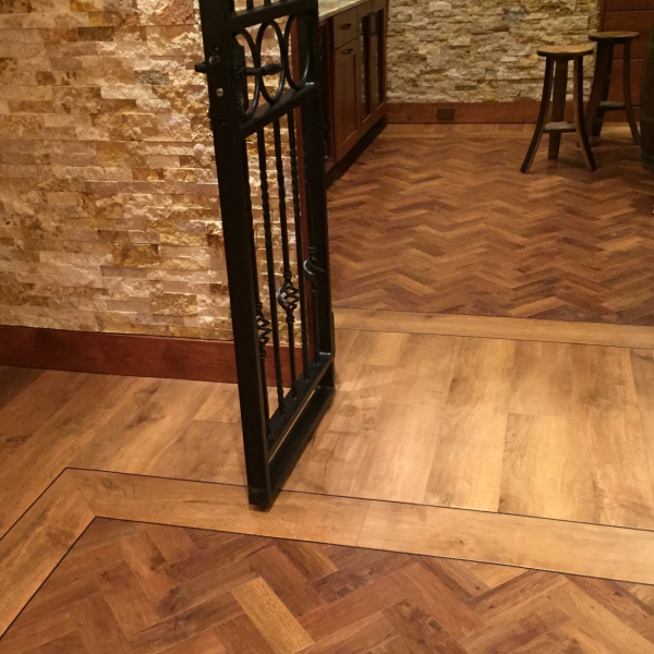 Luxury Vinyl planks we installed for a client in his basement.