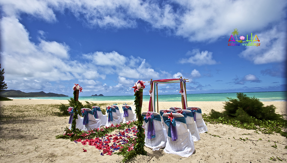 Theme wedding of purple and blue with star gazers tiki torches and blue and white chiffon on bamboo arch for wedding in Hawaii