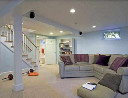 Our Belmont, MA clients wanted their new living area to feel fully integrated into their home. It includes a large family room and combination bath and laundry room.