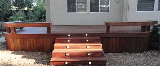 Built in bench with low voltage lighting.