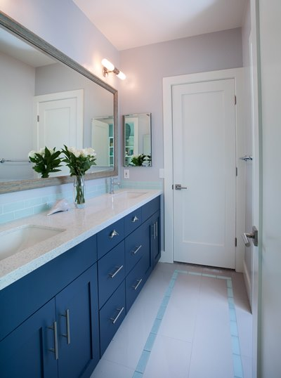 Part of a full house remodel with an addition, this Jack and Jill bathroom was completely redone.