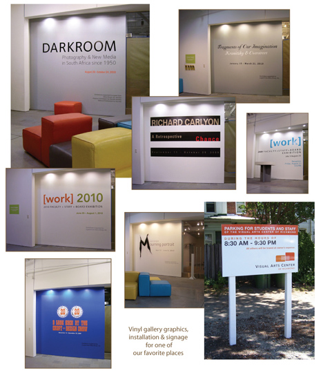We loved doing the gallery graphics and signage for VisArts!