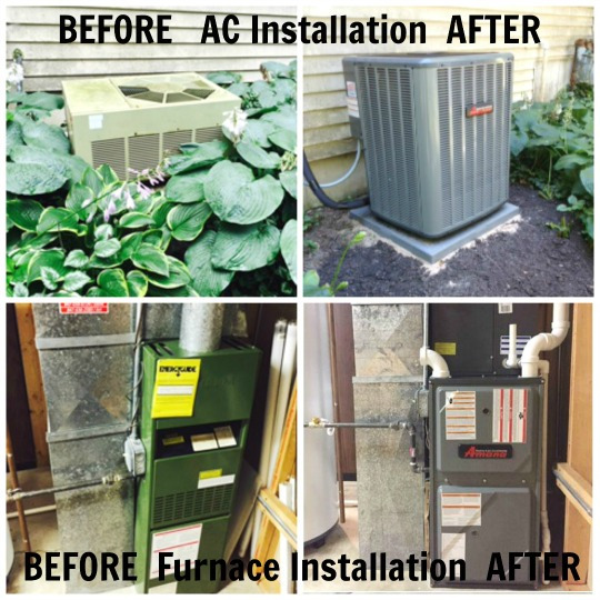 Before and After Installing Furnace and Air Conditioner in Lake In The Hills, Illinois in July 2015.