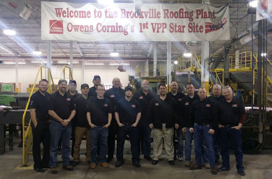 The Amos Exteriors team visiting the Owens Corning plant in Brookville, Indiana.