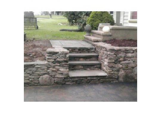 Natural Stone Walls and Blue Stone Stairs