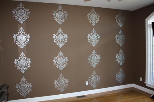 Metallic Stenciled Damask Accent Wall