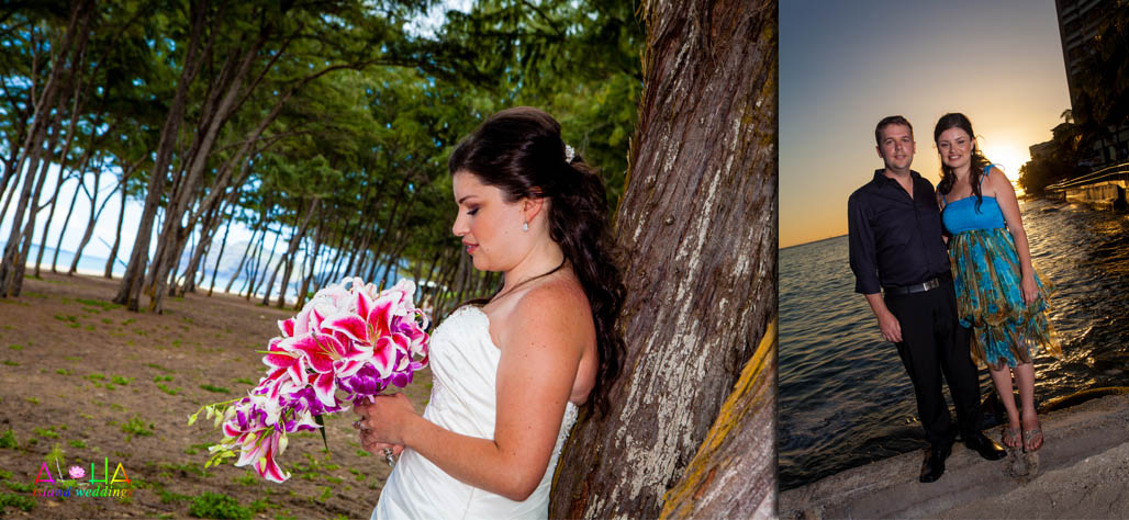 The bride holds a tropical purple orchis bouquet mixed with bright Stargazer flowers