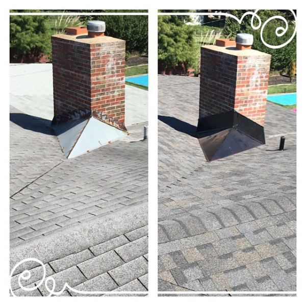 Proper chimney flashing. We paint your flashing to blend with the color of the roof