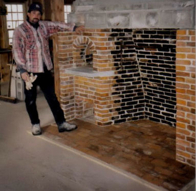 Rumford fireplace with beehive oven build