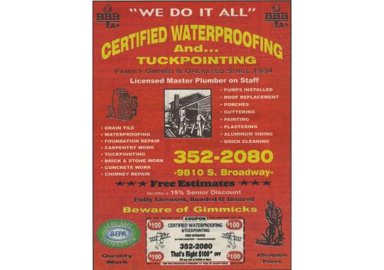Certified Waterproofing and Tuckpointing Company logo