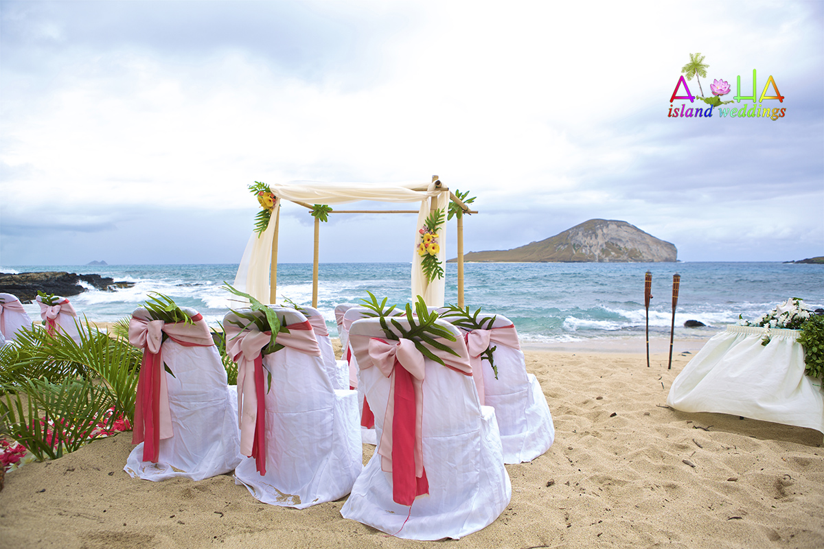 This theme used pink and dark pink for the design on their beach wedding theme