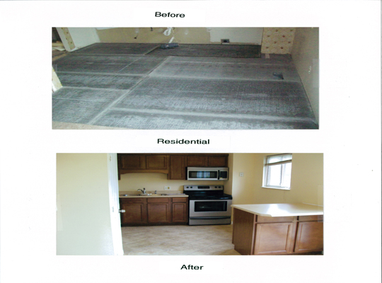 Removed wallpaper, repaired walls, prime/paint install new ceramic floor and cabinets/counter top