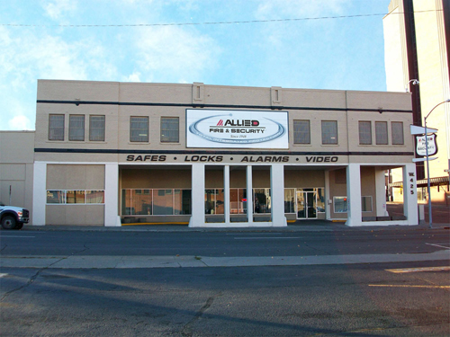 Allied Fire & Security is located at the corner of 2nd Ave and Stevens St. in downtown Spokane: 425 W 2nd Ave.