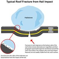 When hail hits, it can fracture or bruise the shingle.