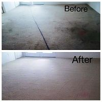 Heavily soiled carpet before and after our steam cleaning