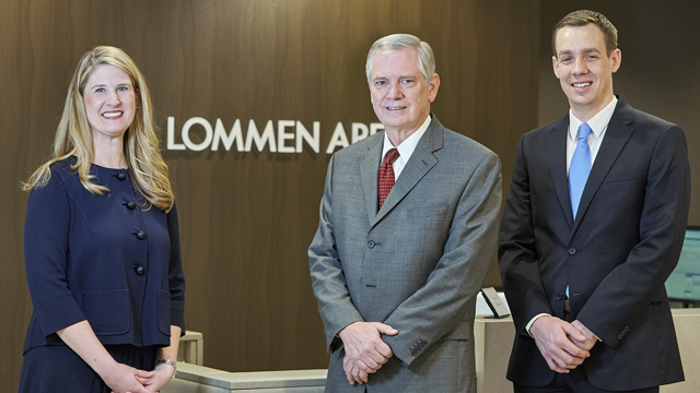 Lauren Nuffort and Jesse Beier have joined Lommen Abdo bringing new perspectives and increasing the firm's depth of talent. Lauren and Jesse are pictured here with Lommen Abdo President Keith Broady.