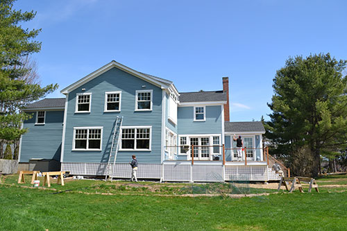 Blue House Back View